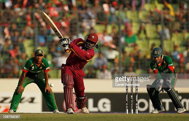Chris Gayle of West Indies bats during the 2011 ICC World Cup Group B match between Bangladesh and West Indies at ShereeBangla National Stadium...