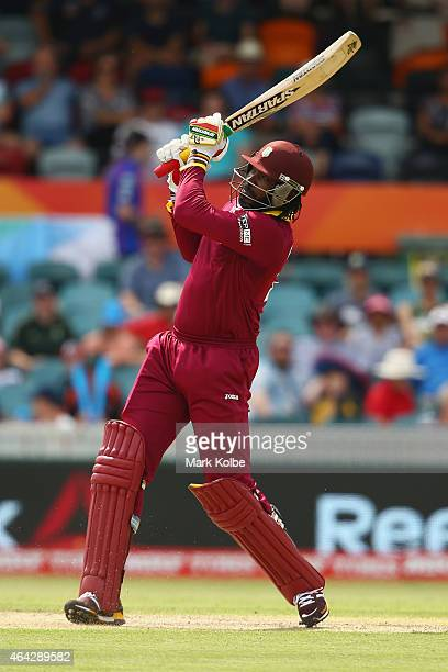Chris Gayle of West Indies bats during the 2015 ICC Cricket World Cup match between the West Indies and Zimbabwe at Manuka Oval on February 24, 2015...