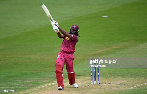 Chris Gayle of West Indies bats during the ICC Cricket World Cup 2019 Warm Up match between West Indies and New Zealand at Bristol County Ground on...