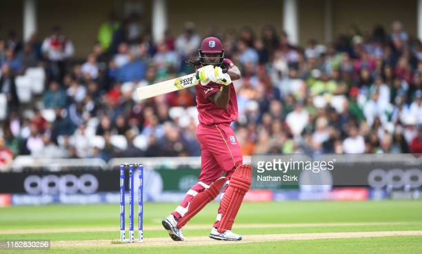 Chris Gayle of West Indies batting during the Group Stage match of the ICC Cricket World Cup 2019 between West Indies and Pakistan at Trent Bridge on...