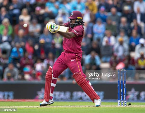 Chris Gayle of West Indies batting during the Group Stage match of the ICC Cricket World Cup 2019 between England and the West Indies at The Ageas...