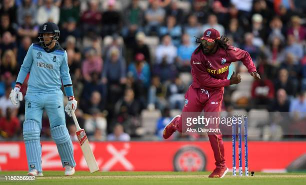 Chris Gayle of West Indies bowls during the Group Stage match of the ICC Cricket World Cup 2019 between England and West Indies at The Hampshire Bowl...