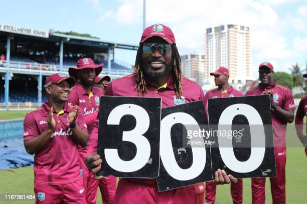 Chris Gayle of West Indies in his 300th ODI during the second MyTeam11 ODI between the West Indies and India at the Queen's Park Oval on August 11,...