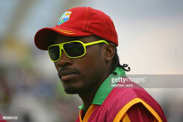 Chris Gayle of West Indies looks on prior to the ICC World Twenty20 match between West Indies and Sri Lanka at Trent Bridge on June 10 2009 in...