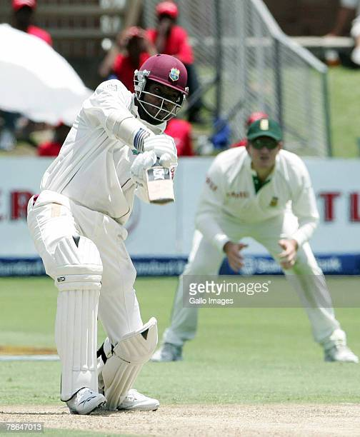 Chris Gayle of West Indies on his way to 50 during day one of the First Test match between South Africa and West Indies from Sahara Oval at St...