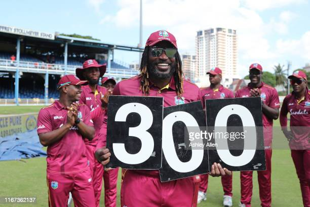 Chris Gayle of West Indies plays in his 300th ODI during the second MyTeam11 ODI between the West Indies and India at the Queen's Park Oval on August...