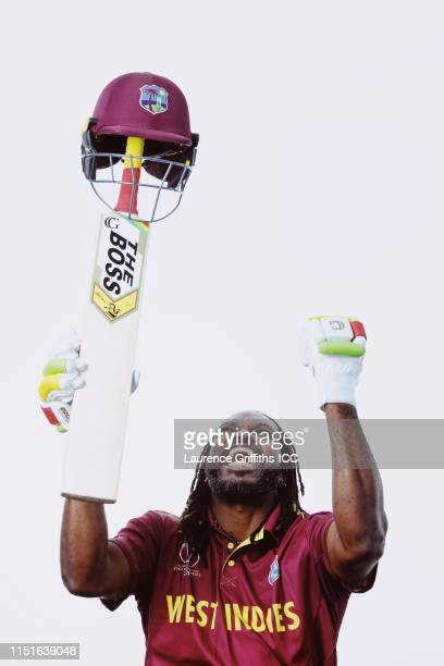 Chris Gayle of West Indies poses for a portrait prior to the ICC Cricket World Cup 2019 at The Radisson Blu Hotel on May 25, 2019 in Bristol, England.