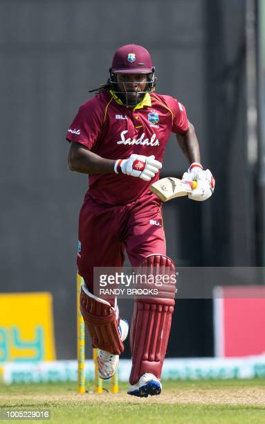 Chris Gayle of West Indies runs during the 2nd ODI match between West Indies and Bangladesh at Guyana National Stadium Providence Guyana on July 25...