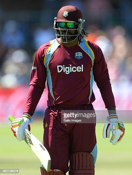 Chris Gayle of West Indies walks off for 10 runs during the 4th Momentum ODI between South Africa and West Indies at St Georges Park on January 25...