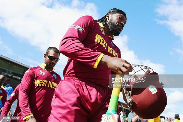 Chris Gayle of West Indies walks out to bat during the 2015 ICC Cricket World Cup match between the West Indies and Ireland at Saxton Field on...