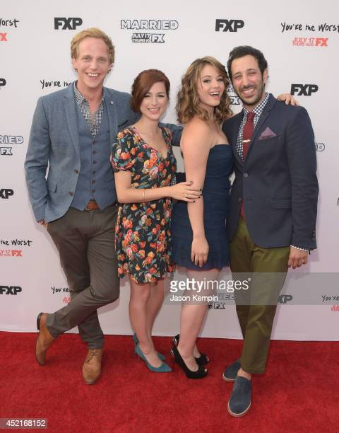 Chris Geere Aya Cash Kether Donohue and Desmin Borges attend the premiere screening's for FX's You're The Worst And Married at Paramount Studios on...