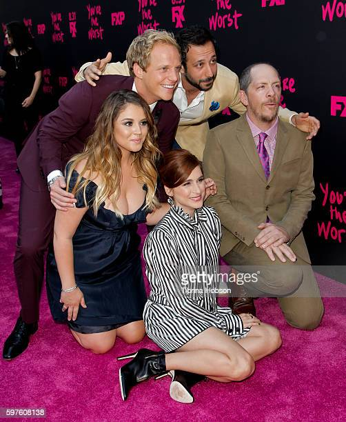 Chris Geere Desmin Borges Kether Donohue Aya Cash and Stephen Falk attend the premiere of FXX's 'You're The Worst' season 3 on August 28 2016 in Los...
