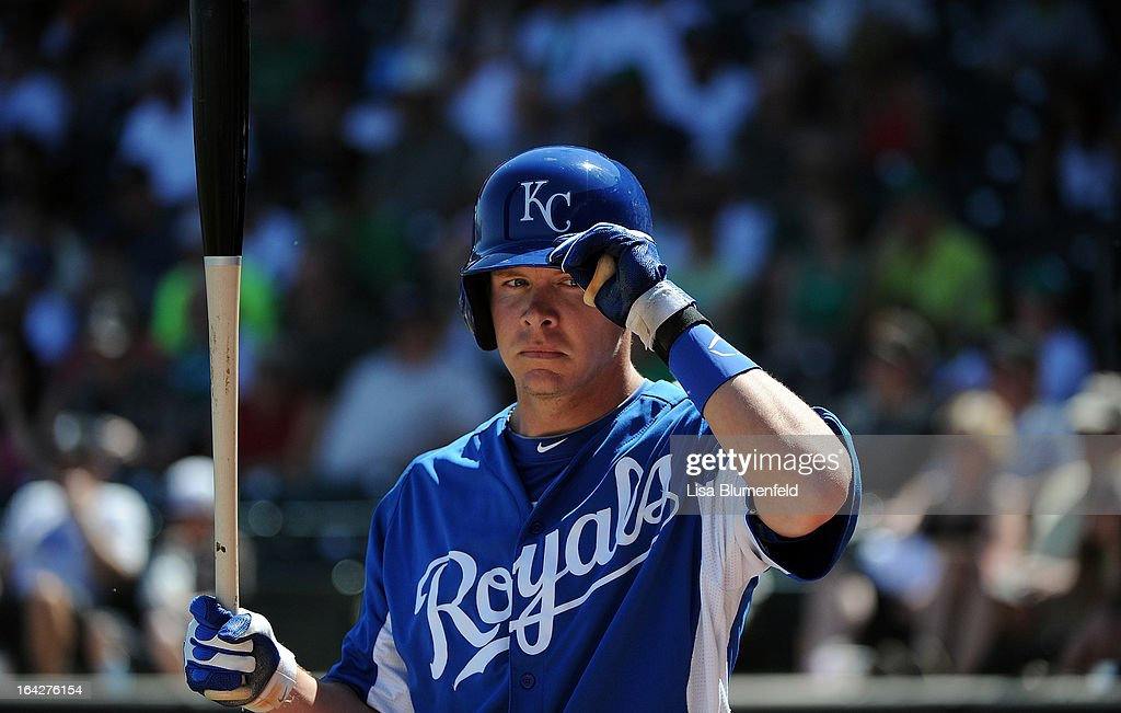 Chris Getz #17 of the Kansas City Royals waits on deck during the game against the Chicago White Sox at Surprise Stadium on March 17, 2013 in Surprise, Arizona.