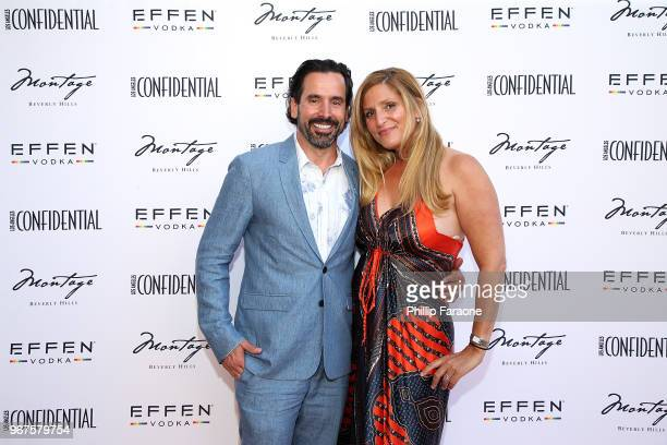 Chris Gialanella and Andrea Gialanella attend the Los Angeles Confidential Celebration for Portraits of Pride with GLAAD and Laverne Cox on June 4...