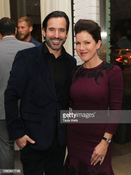 Chris Gialanella and Kira Reed Lorsch attend Angeleno celebrates its November issue with Kathryn Hahn on November 12 2018 in West Hollywood California