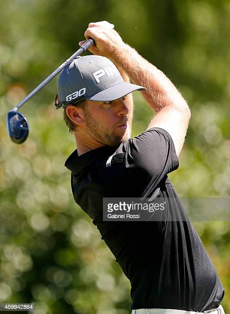 Chris Gilman of USA plays a tee shot on the 18th hole during the first round of the 109th VISA Open Argentina as part of PGA Latinoamerica tour at...