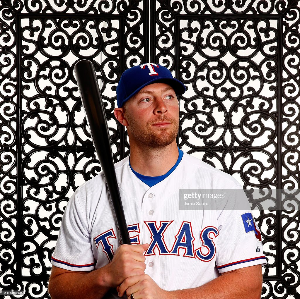 Chris Gimenez #38 of the Texas Rangers poses during a spring training photo shoot on February 28, 2016 in Surprise, Arizona.