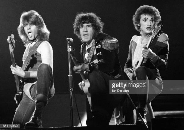Chris Glen Alex Harvey and Zal Cleminson of The Sensational Alex Harvey Band performing on stage at Rainbow Theatre London 24 January 1977