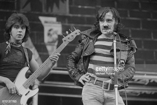 Chris Glen and Alex Harvey performing with the Sensational Alex Harvey Band at Charlton Athletic's football ground The Valley London 31st May 1976...