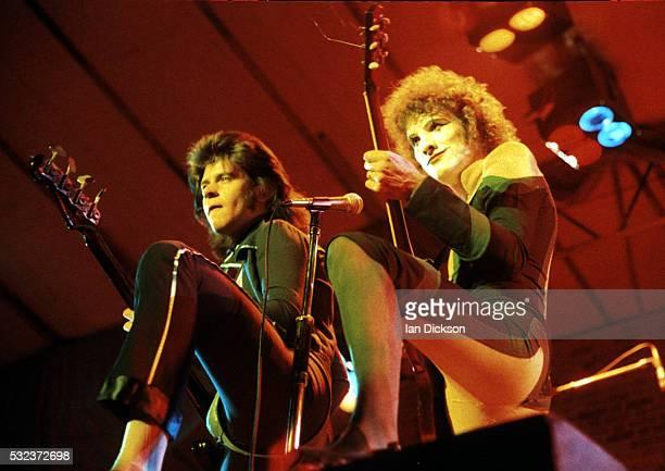 Chris Glen and Zal Cleminson of Sensational Alex Harvey Band performing on stage, London, United Kingdom, 1974.