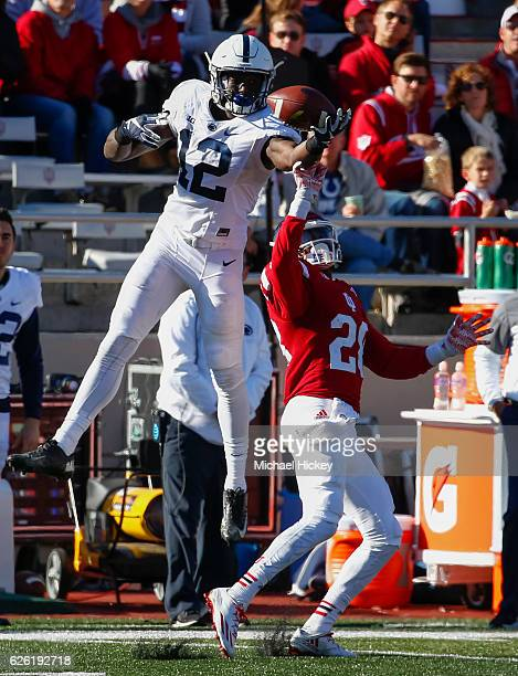Chris Godwin of the Penn State Nittany Lions and Jameel Cook Jr #20 of the Indiana Hoosiers battle for the ball at Memorial Stadium on November 12...