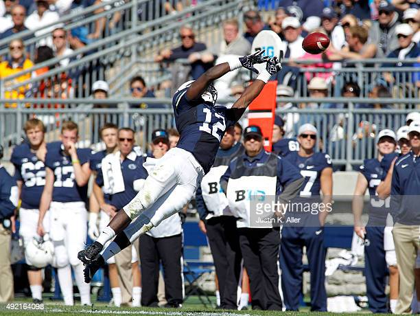 Chris Godwin of the Penn State Nittany Lions can't pull in a pass in the first half during the game against the Indiana Hoosiers on October 10 2015...