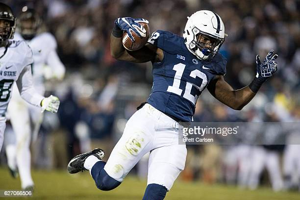 Chris Godwin of the Penn State Nittany Lions celebrates a touchdown reception during the second half against the Michigan State Spartans on November...