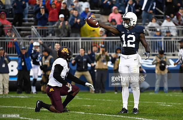 Chris Godwin of the Penn State Nittany Lions reacts after a first down reception in the second half during the game against the Minnesota Golden...