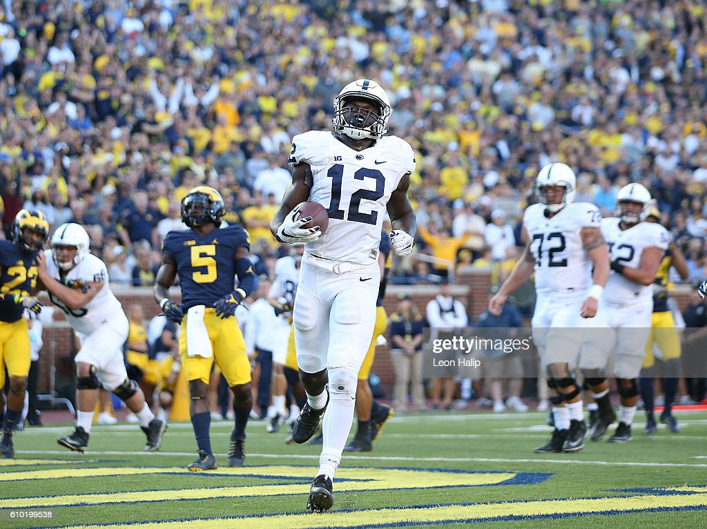 Chris Godwin #12 of the Penn State Nittany Lions scores during the fourth quarter of the game against the Michigan Wolverines at Michigan Stadium on September 24, 2016 in Ann Arbor, Michigan. Michigan defeated Penn State 49-10.