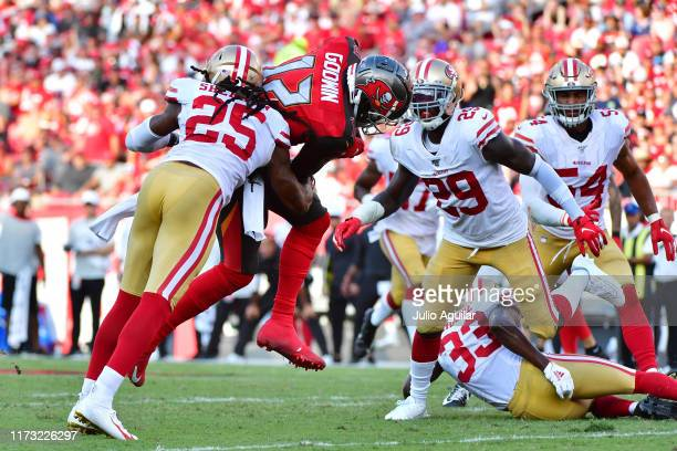 Chris Godwin of the Tampa Bay Buccaneers makes a 28-yard reception in the third quarter of a game against the San Francisco 49ers at Raymond James...