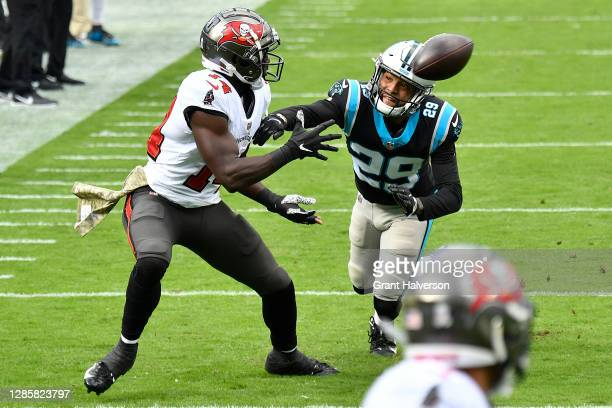 Chris Godwin of the Tampa Bay Buccaneers makes a catch in front of Corn Elder of the Carolina Panthers during their NFL game at Bank of America...