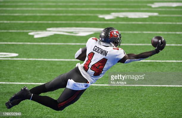 Chris Godwin of the Tampa Bay Buccaneers makes a seven yard reception for a touchdown during the second quarter of a game against the Detroit Lions...