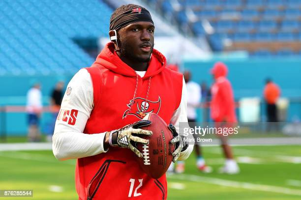 Chris Godwin of the Tampa Bay Buccaneers warms up prior to a game against the Miami Dolphins at Hard Rock Stadium on November 19 2017 in Miami...