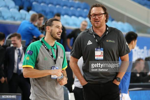 Chris Goulding and assistant coach Luc Longley look on during the FIBA World Cup Qualifier match between the Australian Boomers and the Philippines...