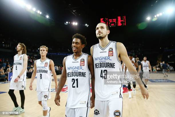 Chris Goulding and Casper Ware of United share a moment after winning the round 18 NBL match between the New Zealand Breakers and Melbourne United at...