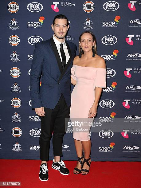 Chris Goulding and Molly Christensen arrive at the Melbourne United 2016/17 NBL season launch at Laurens Hall on September 29, 2016 in Melbourne,...