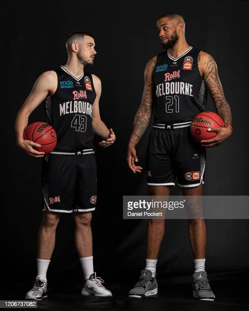 Chris Goulding and Shawn Long of United pose during the 2020 NBL Finals Launch at Crown Palladium on February 17, 2020 in Melbourne, Australia.