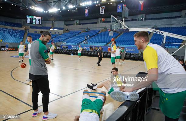 Chris Goulding looks on as his teammates warm up during the FIBA World Cup Qualifier match between the Australian Boomers and the Philippines at...