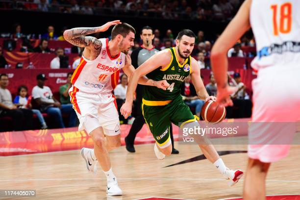 Chris Goulding of Australia handles the ball against Juancho Hernangomez of Spain during FIBA World Cup 2019 semi-final match between Spain and...