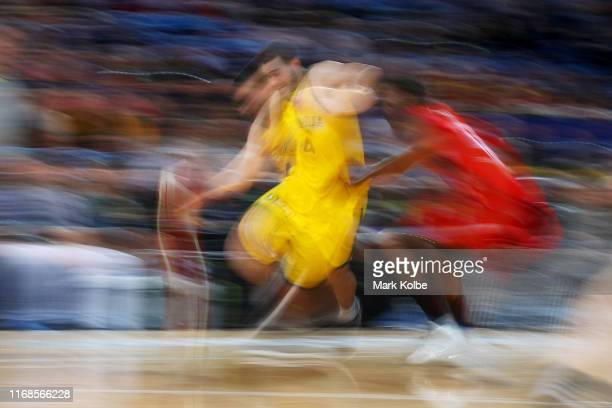 Chris Goulding of Australia takes the ball up court during the International Basketball friendly match between the Australian Boomers and Canada at...