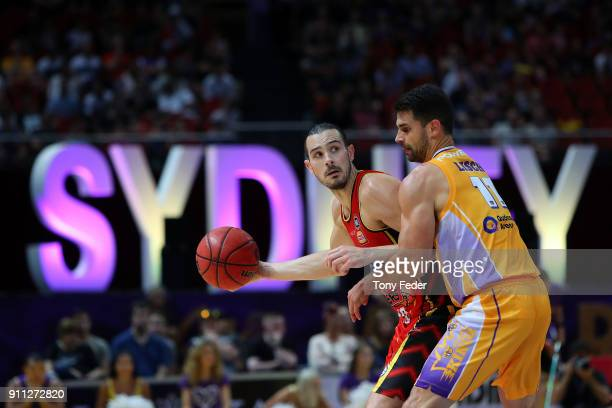 Chris Goulding of Melbourne contests the ball with Kevin Lisch of the Kings during the round 16 NBL match between the Sydney Kings and Melbourne...