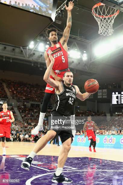 Chris Goulding of Melbourne drives to the basket during the round seven NBL match between Melbourne and Perth on November 19 2017 in Melbourne...