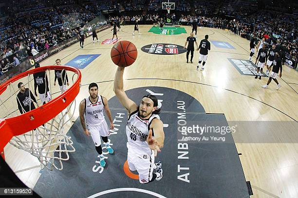 Chris Goulding of Melbourne during warm up prior to the round one NBL match between the New Zealand Breakers and Melbourne United at Vector Arena on...