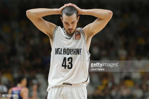 Chris Goulding of Melbourne reacts to missing the buzzer beater to win the game during the round four NBL match between the Brisbane Bullets and...