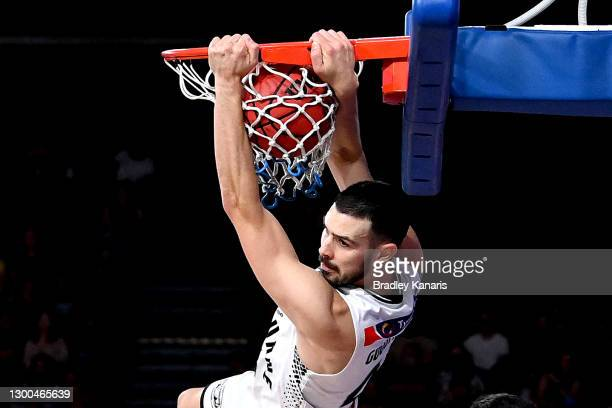 Chris Goulding of Melbourne slam dunks during the round four NBL match between the Brisbane Bullets and Melbourne United at Nissan Arena, on February...