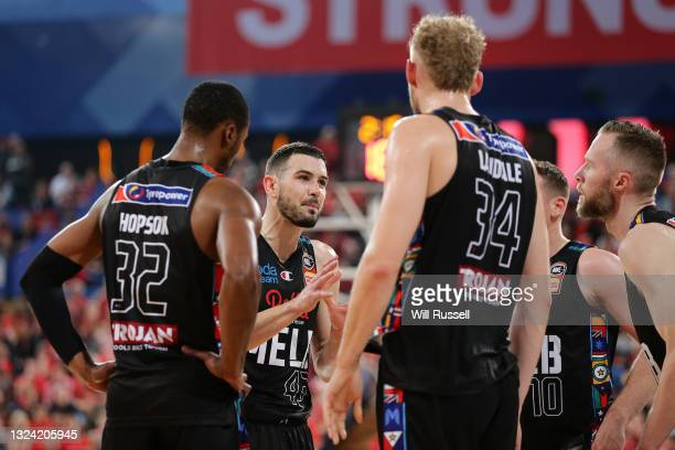 Chris Goulding of Melbourne United addresses the team during game one of the NBL Grand Final Series between the Perth Wildcats and Melbourne United...