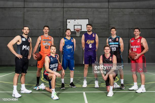 Chris Goulding of Melbourne United Alexander Loughton of the Cairns Taipans Nathan Sobey of the Adelaide 36ers Cameron Gliddon of the Brisbane...