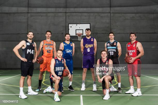 Chris Goulding of Melbourne United, Alexander Loughton of the Cairns Taipans, Nathan Sobey of the Adelaide 36ers, Cameron Gliddon of the Brisbane...
