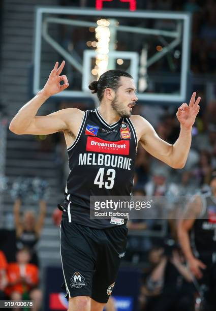 Chris Goulding of Melbourne United celebrates after shooting a three pointer during the round 19 NBL match between Melbourne United and the Illawarra...