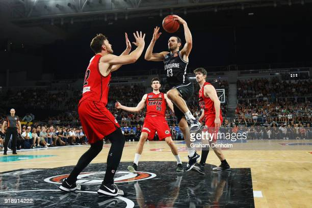 Chris Goulding of Melbourne United drives at the basket during the round 19 NBL match between Melbourne United and the Perth Wildcats at Hisense...